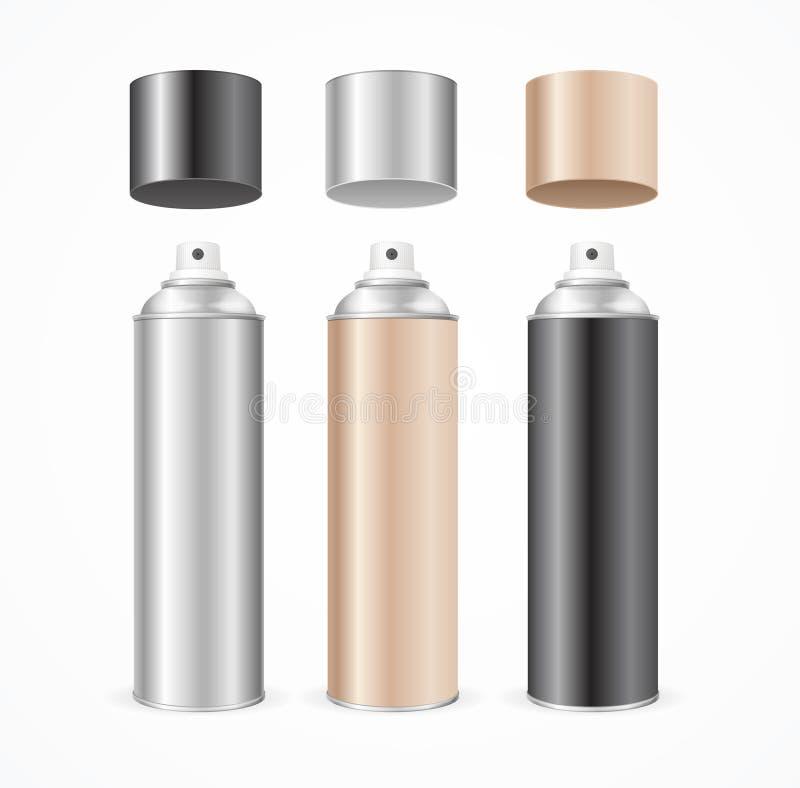 Ensemble de couleur en aluminium de blanc de calibre de boîte de jet Vecteur illustration libre de droits