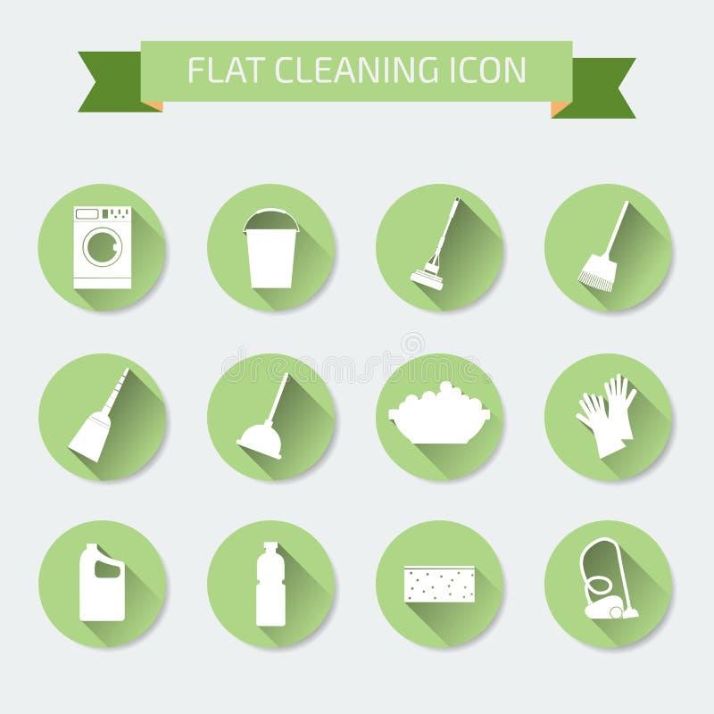 Ensemble de couleur plat de vecteur d'icônes Nettoyage et blanchisserie de Chambre Vect illustration libre de droits