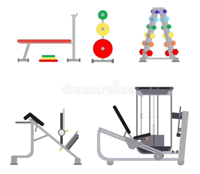 Ensemble de couleur de simulateurs pour le gymnase - banc à presse, la charge pour la tige, hyperextension, cardio-, exercice pou illustration de vecteur