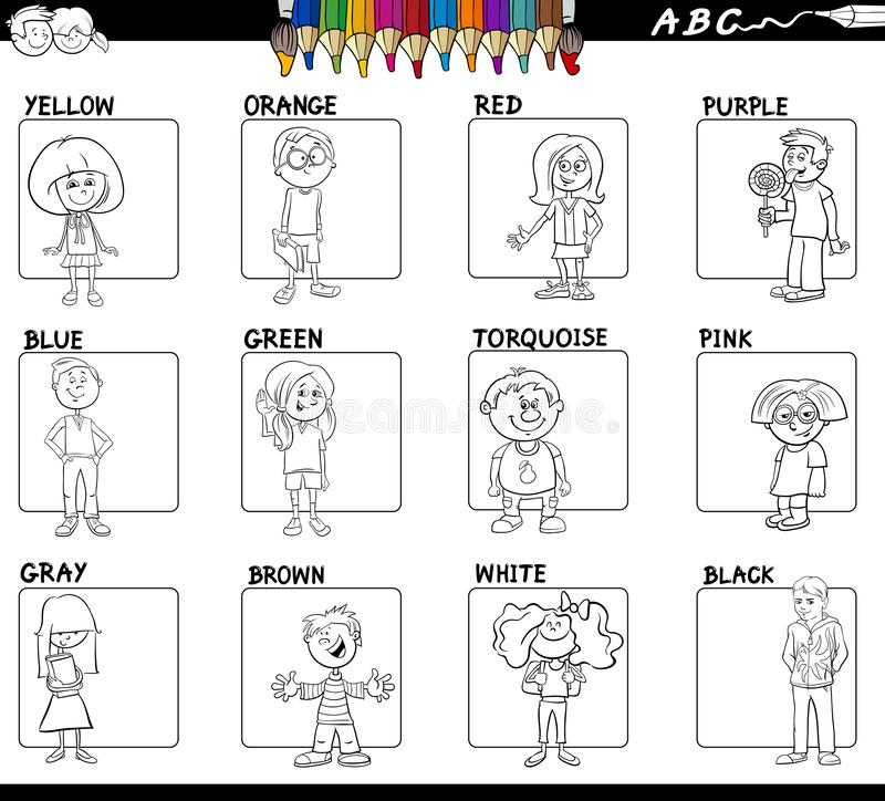 Ensemble de couleurs de base éducatif pour la coloration illustration de vecteur
