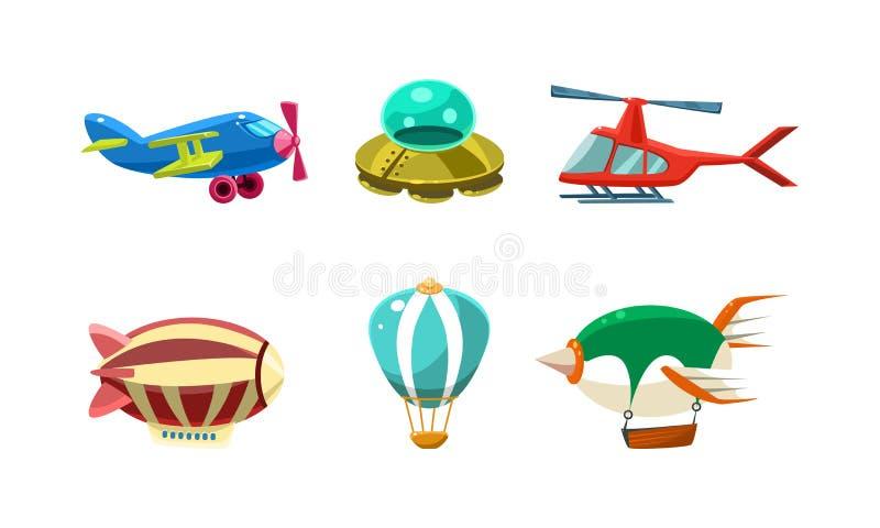 Ensemble de couleurs lumineux d'avions mignons de bande dessinée, avion, dirigeable souple, UFO, hélicoptère, illustration chaude illustration libre de droits