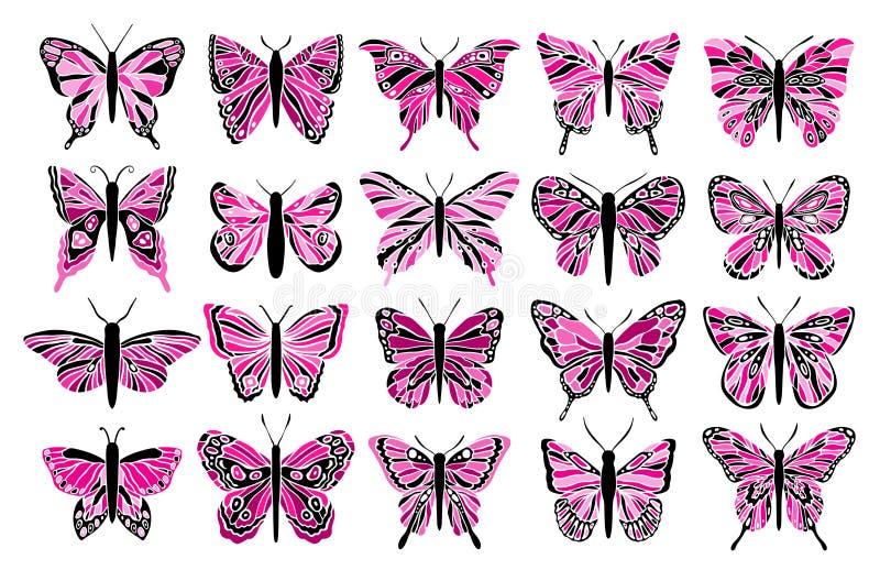 Ensemble de coupe de couleur de papillon Décoration de fenêtre en verre teinté Animal d'élément de symbole illustration de vecteur