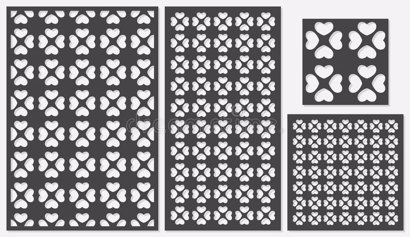 Ensemble de coupe décorative de laser de panneaux un panneau en bois Modèle de répétition classique moderne de coeur dans des for illustration stock