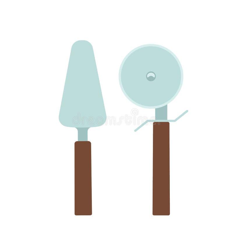 Ensemble de coupeur et de spatule de pizza Illustration plate illustration stock