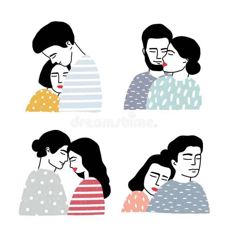 Ensemble de couples dans l'amour Portraits de type et de fille affectueux Adoucissez les étreintes et embrassez la collection Vec illustration stock