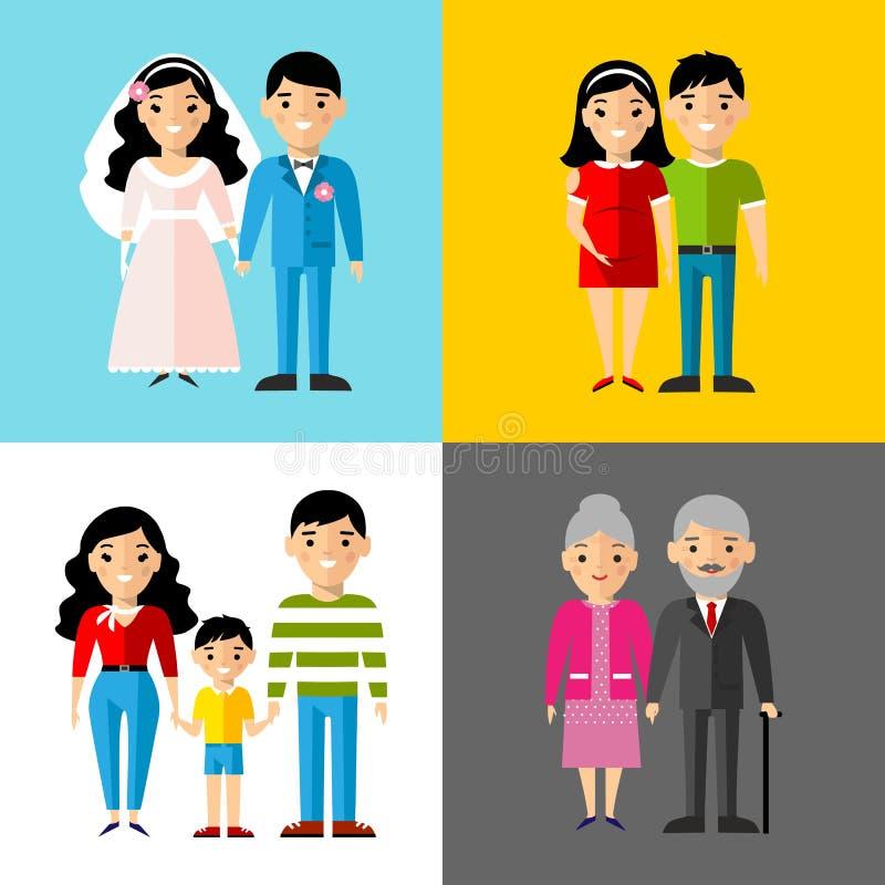 Ensemble de couples européens de mariage, parents enceintes, grand-parent, jeune famille illustration de vecteur