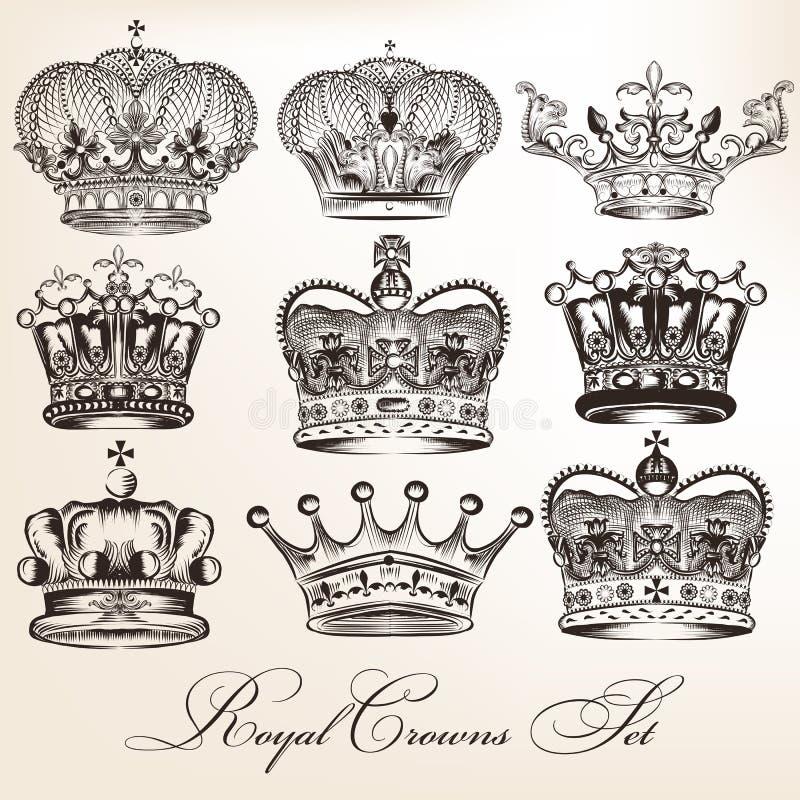 Ensemble de couronnes héraldiques décoratives de vecteur dans le style de vintage illustration de vecteur
