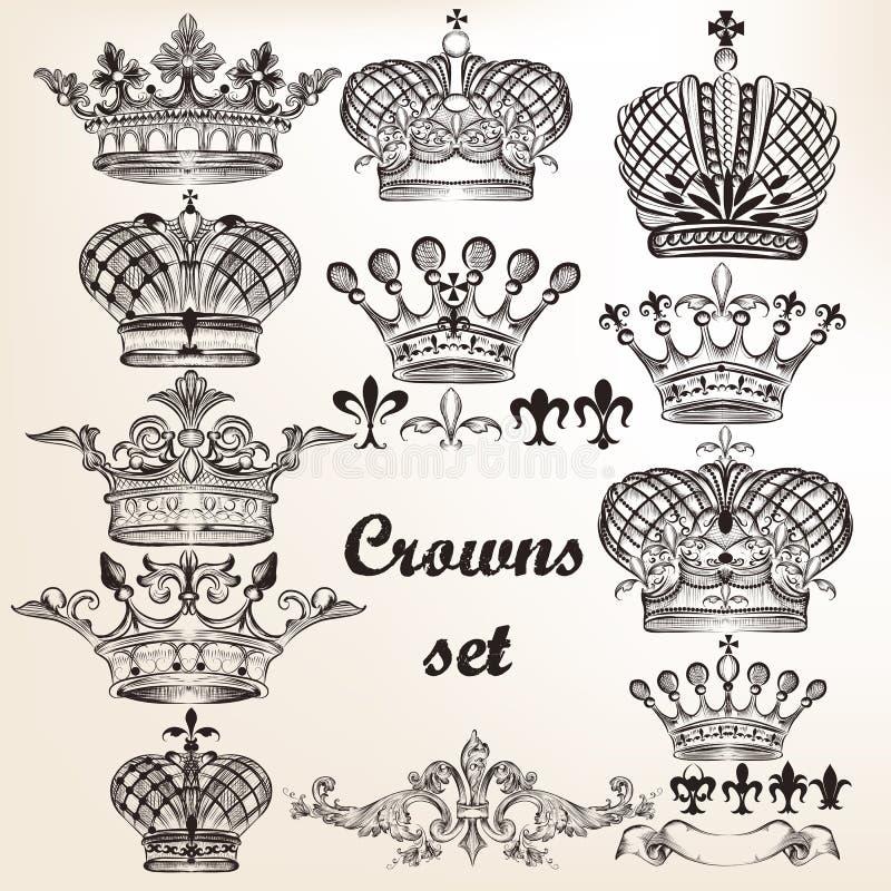 Ensemble de couronnes tirées par la main de vecteur pour la conception illustration stock