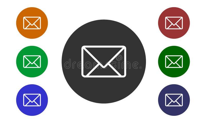 Ensemble de courrier circulaire coloré d'icônes sur des sites Web et des forum et dans l'image de bouton et d'enveloppe d'e-bouti illustration de vecteur