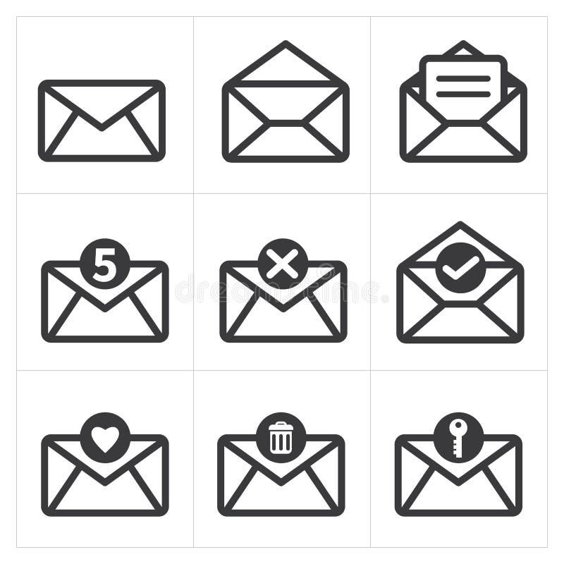 Ensemble de courrier d'icône Icône de messages illustration stock