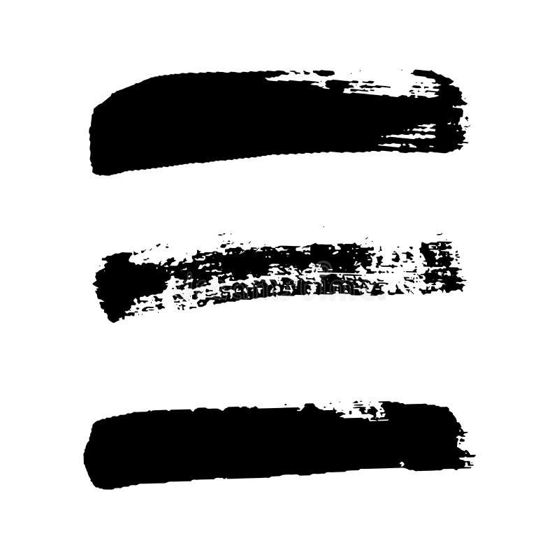 Ensemble de courses de brosse, fond blanc d'isolement Pinceau noir Ligne grunge de course de texture Conception sale d'encre d'ar illustration libre de droits