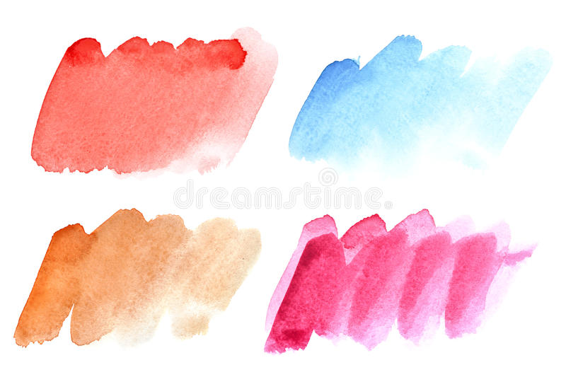 Ensemble de courses colorées de brosse d'aquarelle illustration libre de droits