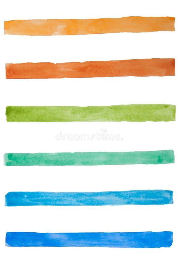Ensemble de courses colorées tirées par la main de brosse d'aquarelle sur le blanc Lignes bleues, vertes, jaunes et brunes Élémen illustration de vecteur