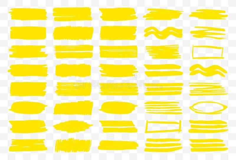 Ensemble de courses et d'éléments jaunes illustration libre de droits