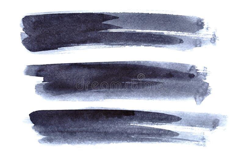 Ensemble de courses grises de brosse d'encre illustration stock