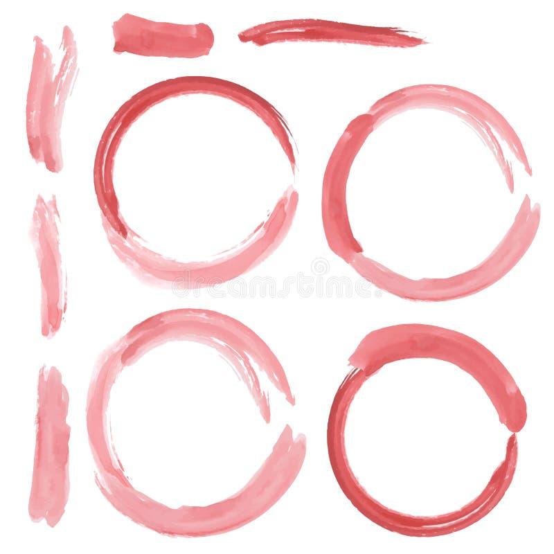 Ensemble de courses grunges rouges de brosse de cercle watercolor Vecteur illustration libre de droits