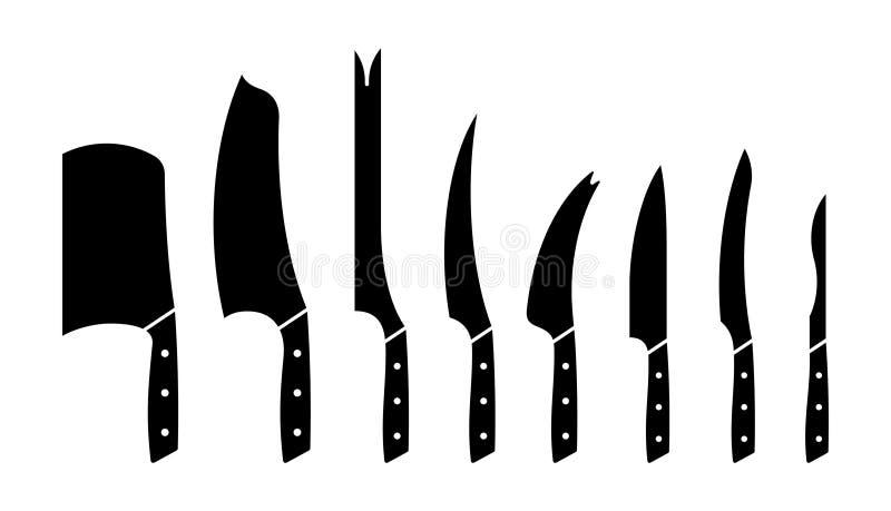 Ensemble de couteaux de cuisine illustration de vecteur