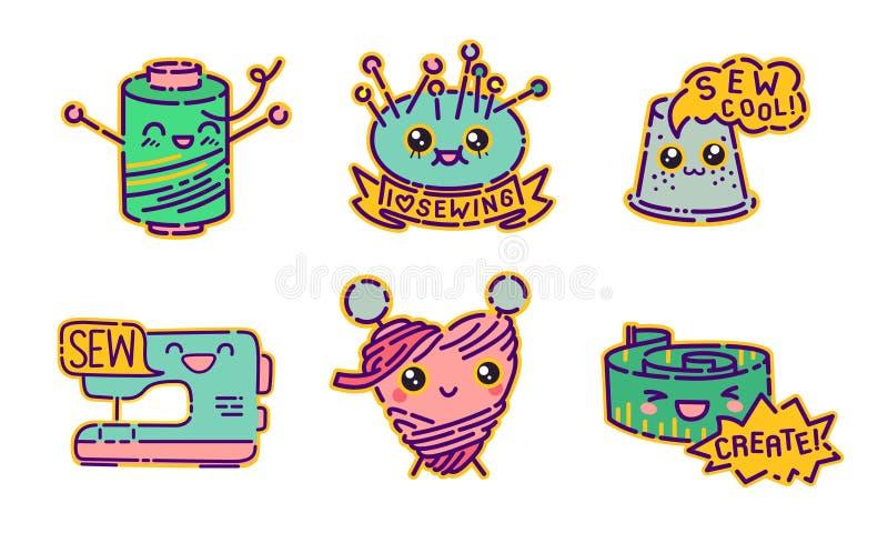 Ensemble de couture d'insigne, signes plats de style de conception de kawaii mignon, icônes de couturière, illustrations de vecte illustration libre de droits