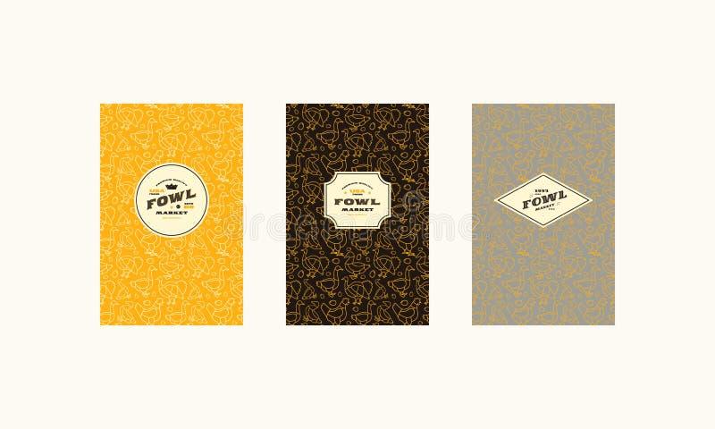 Ensemble de couverture, de label, de logo et de modèle sans couture pour le marché de volaille illustration libre de droits
