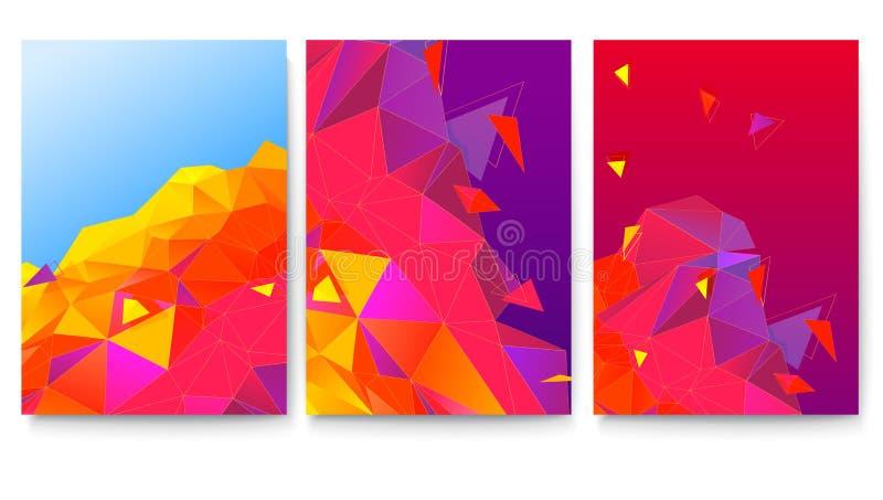 Ensemble de couvertures avec les surfaces géométriques abstraites Calibre de vecteur d'affiche Fond avec les triangles lumineuses illustration stock