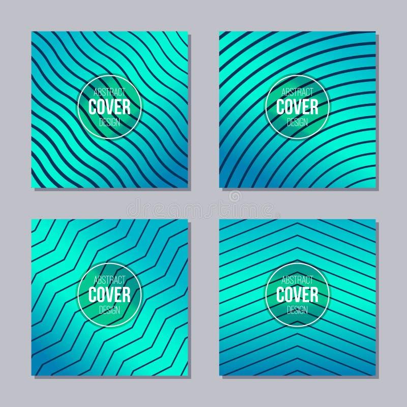 Ensemble de 4 couvertures cr?atives Calibre abstrait de disposition de concept Applicable pour des affiches, plaquettes, couvertu illustration de vecteur