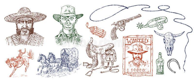 Ensemble de cowboys Icônes occidentales, équipements de Texas Ranger Portrait occidental sauvage d'un homme, d'un shérif et d'une illustration stock