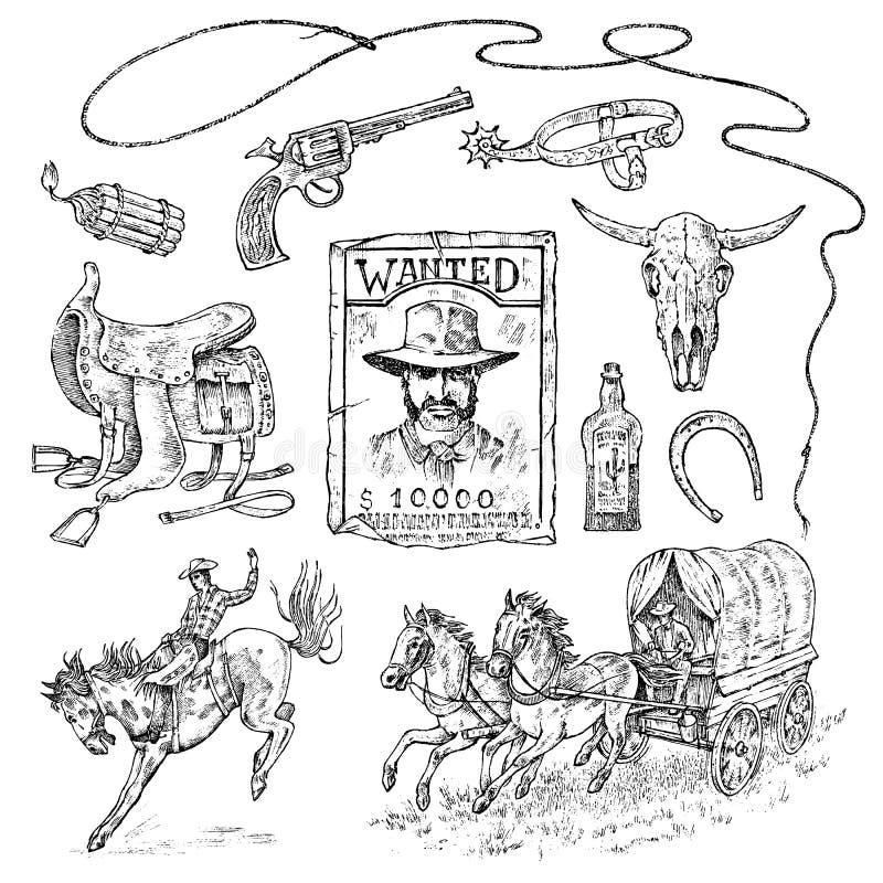 Ensemble de cowboys Icônes occidentales, équipements de Texas Ranger Portrait occidental sauvage d'un homme, d'un shérif et d'une illustration libre de droits