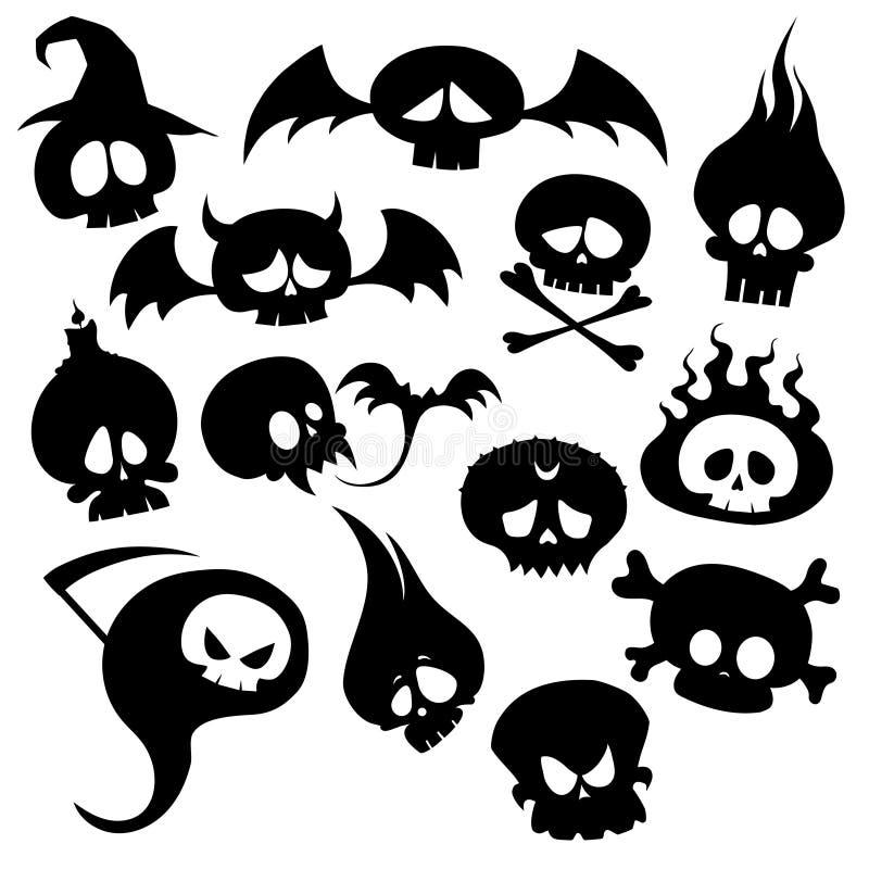 Ensemble de crânes et de monstres Collection de crânes pour Halloween Créatures mystiques stylisées Silhouettes des démons illustration stock