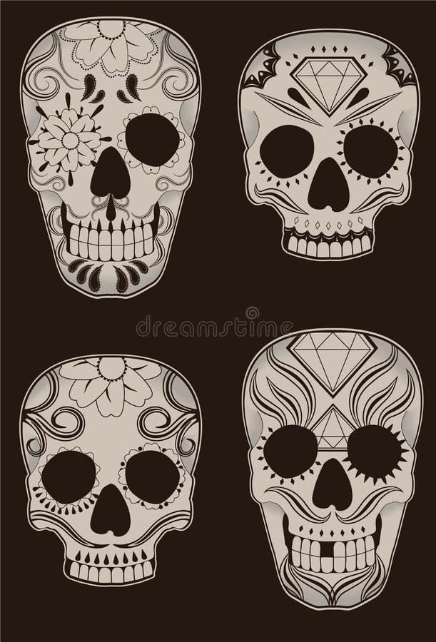 Ensemble de crânes mexicains de sucre illustration stock