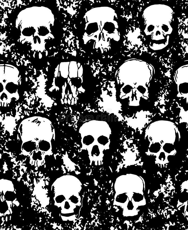 Ensemble de crânes tirés par la main illustration stock