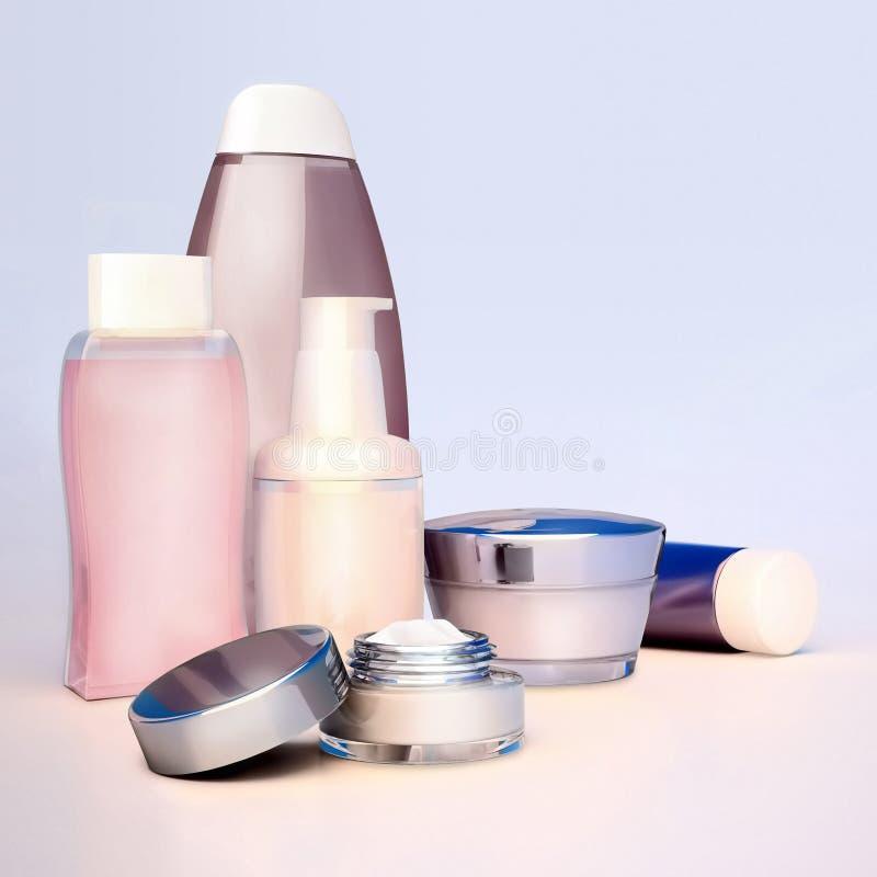 Ensemble de crème cosmétique Quotidien, cosmétique de soin de beauté illustration stock