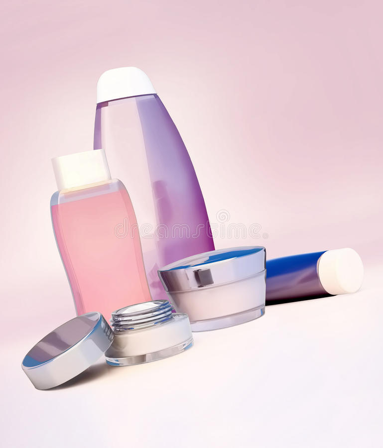 Ensemble de crème cosmétique Quotidien, cosmétique de soin de beauté illustration libre de droits