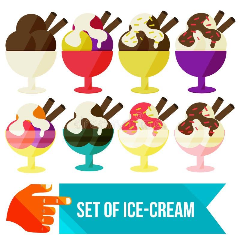Ensemble de crème glacée dans une cuvette illustration libre de droits