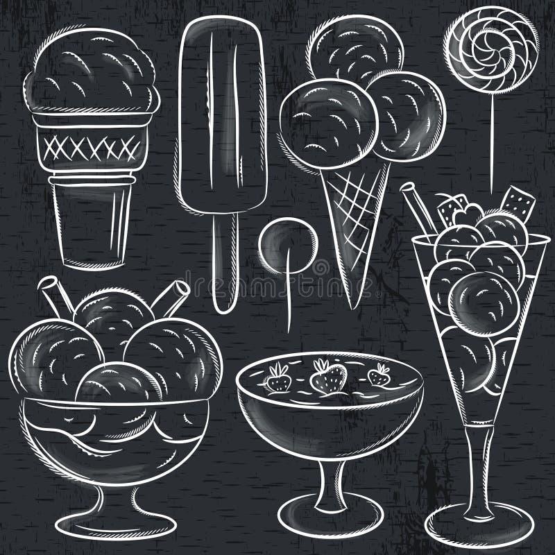 Ensemble de crème glacée différente sur le tableau noir illustration libre de droits