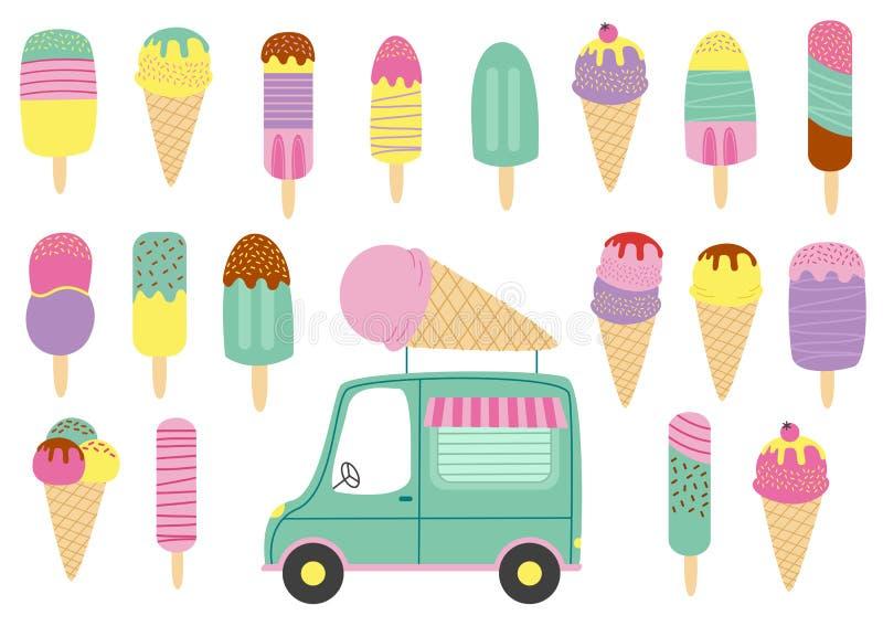 Ensemble de crème glacée et de camion d'isolement illustration stock