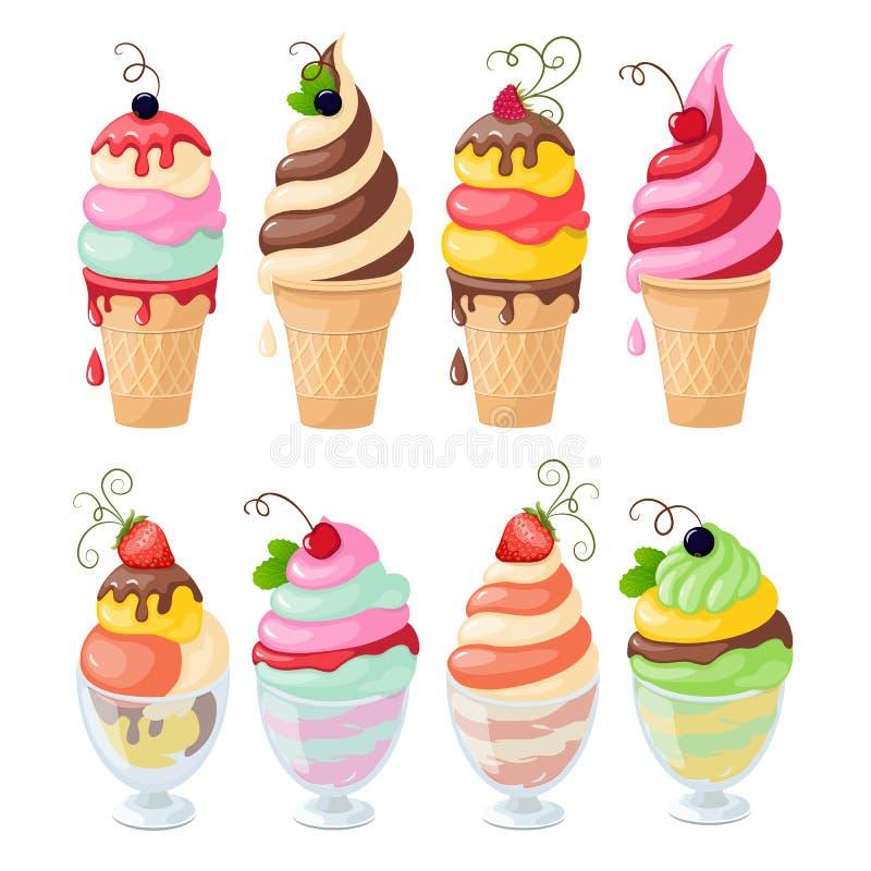 Ensemble de crème glacée sur le blanc illustration de vecteur