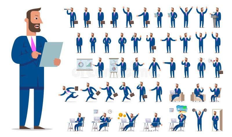 Ensemble de création de caractère d'homme d'affaires ou de directeur grand Différent luttez illustration de vecteur