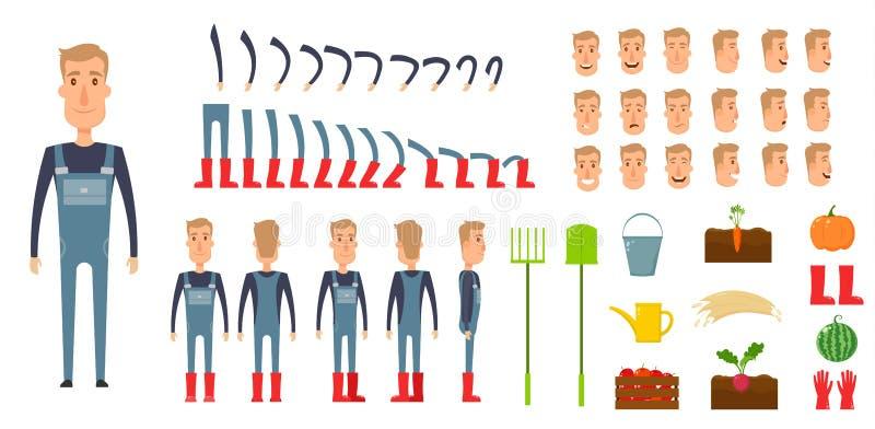 Ensemble de création de caractère d'agriculteur Icônes avec différents types de visages, émotions, vêtements Avant, côté, mâle ar illustration de vecteur