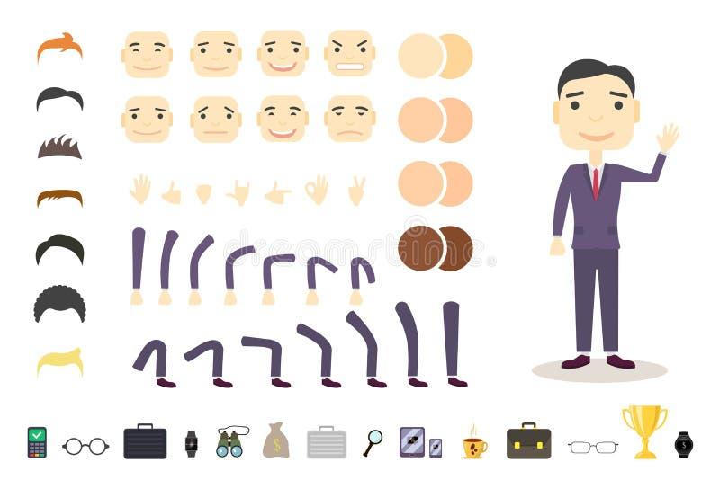 Ensemble de création de caractère d'homme d'affaires Établissez votre propre conception Vecteur de bande dessinée de style plat F illustration stock