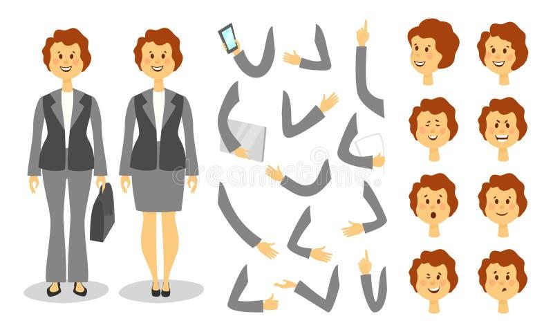 Ensemble de création de caractère de femme d'affaires Icônes avec différents types des visages et de coiffure, émotions, avant, a illustration stock