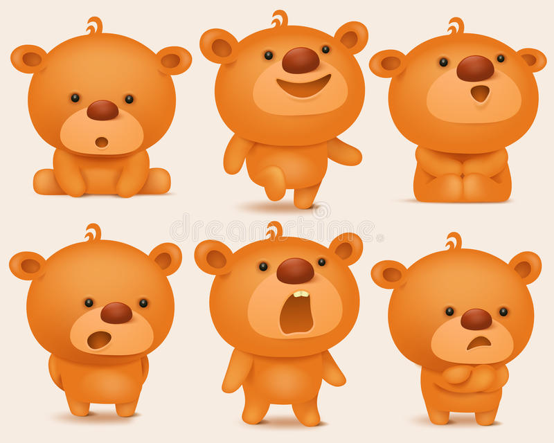 Ensemble de création de caractères d'ours de nounours avec différentes émotions illustration libre de droits