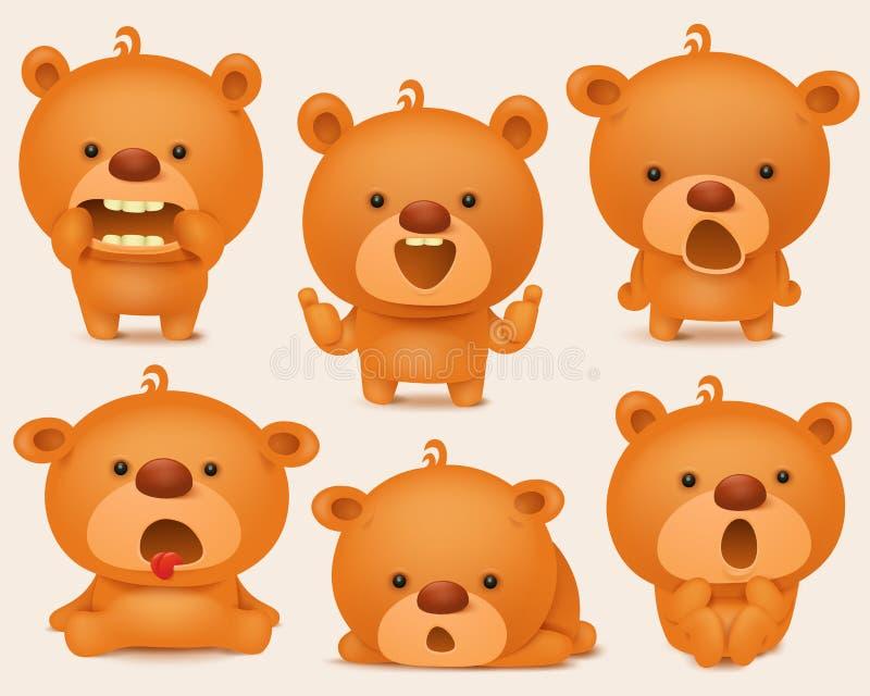 Ensemble de création de caractères d'ours de nounours avec différentes émotions Illustration de vecteur illustration de vecteur