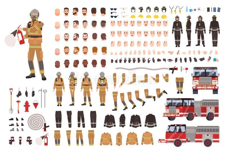 Ensemble de création de sapeur-pompier ou kit de DIY Paquet de parties du corps de pompier, expressions du visage, vêtements de p illustration libre de droits