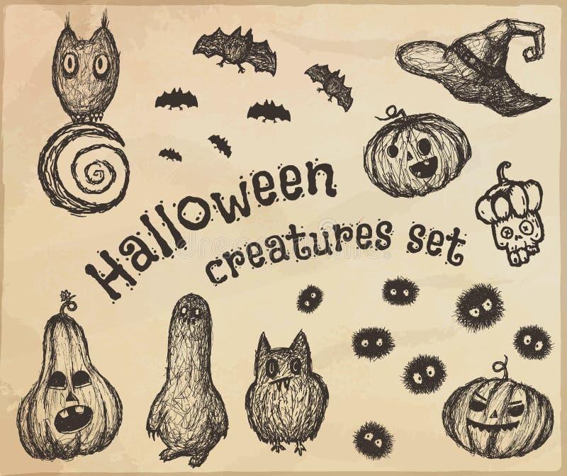 Ensemble de créatures tirées par la main de Halloween illustration de vecteur
