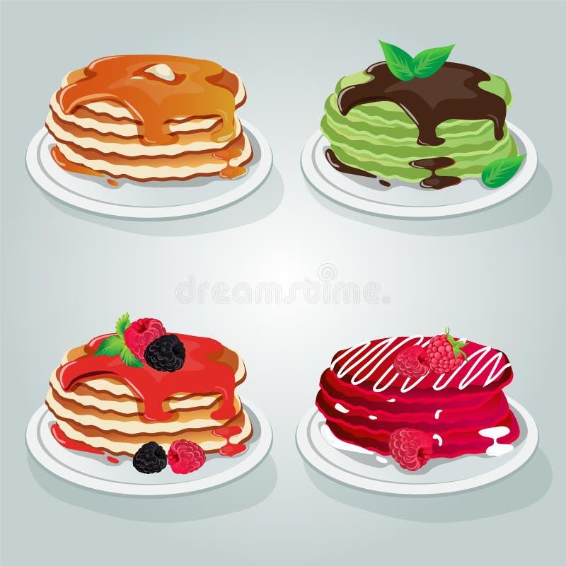 Ensemble de crêpe de petit déjeuner illustration stock
