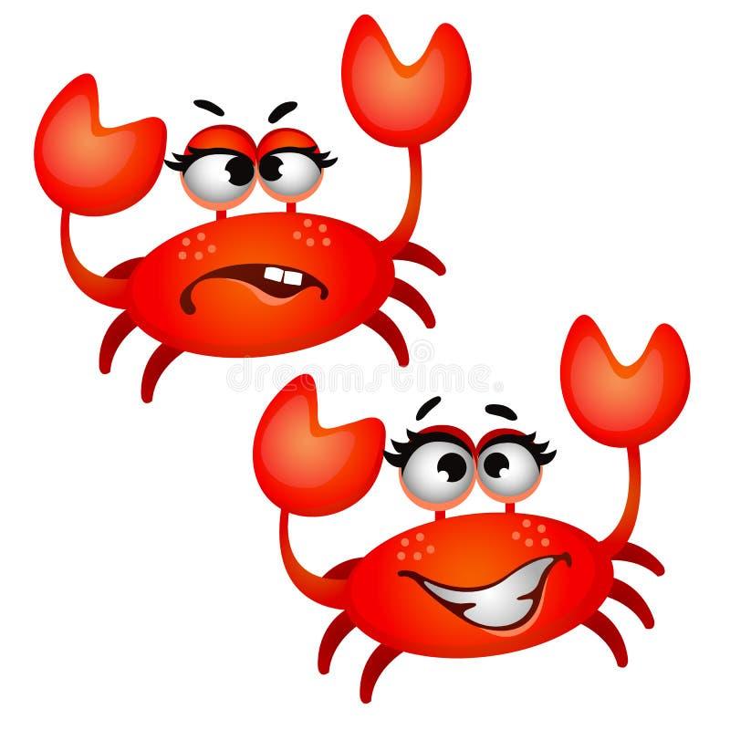 Ensemble de crabe rouge riant drôle d'isolement sur le fond blanc Illustration de plan rapproché de bande dessinée de vecteur illustration de vecteur