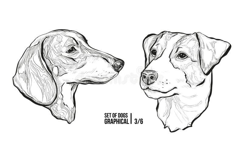Ensemble de crabots Races teckel et Jack Russell Terrier Illustration graphique de vecteur illustration libre de droits