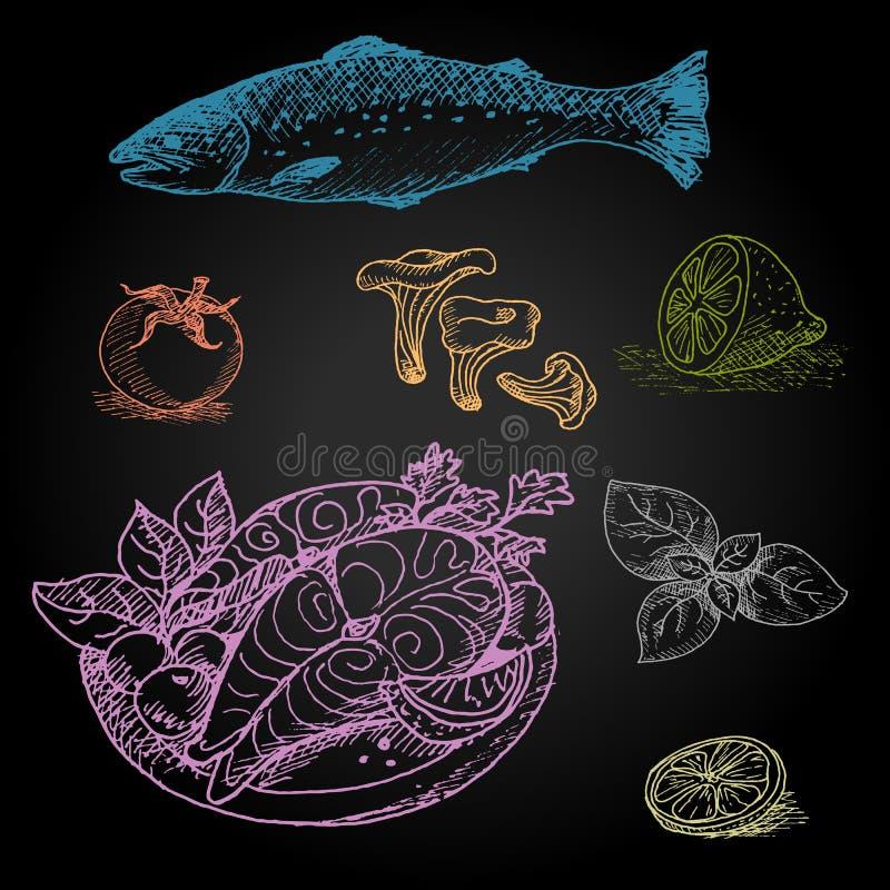 Ensemble de craie de couleur dessiné sur un aliment de tableau noir illustration libre de droits
