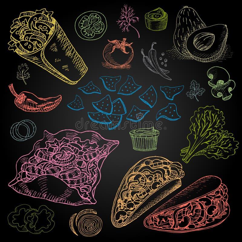 Ensemble de craie de couleur dessiné sur un aliment de tableau noir illustration stock