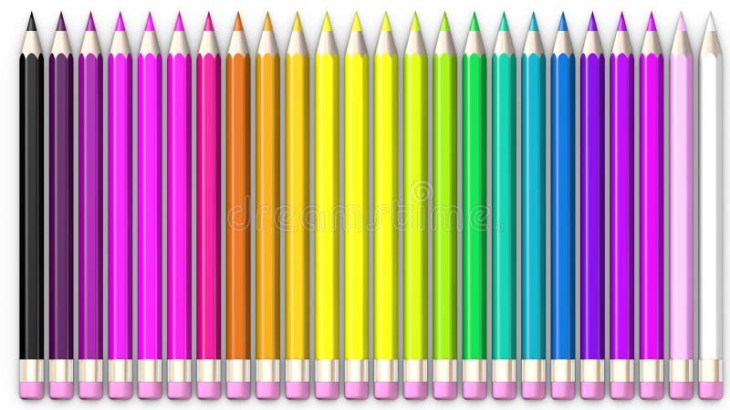 Ensemble de crayon coloré Des crayons sont alignés et assortis illustration stock